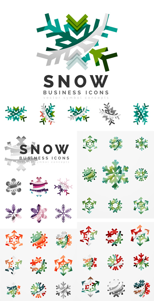 Vector Set - Snowflakes Business Icons