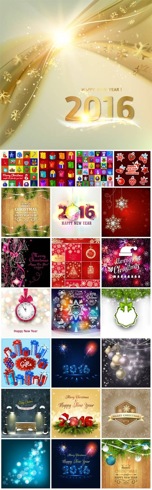 2016 Merry Christmas, New Year, holiday, backgrounds vector