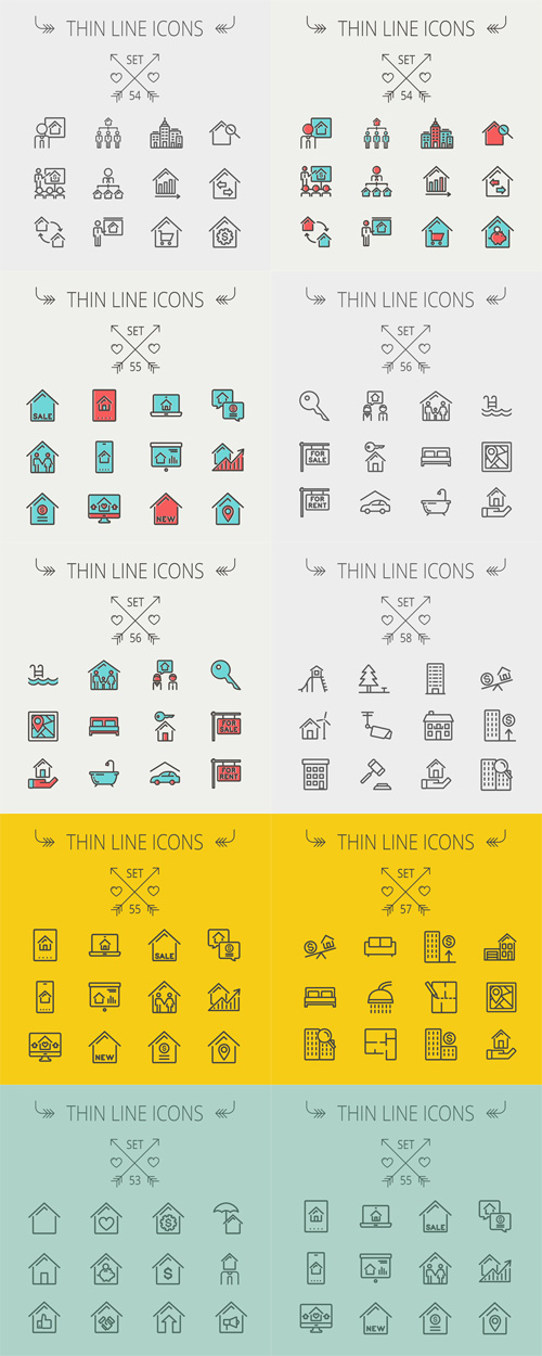 Vector Thin Line Icons Collection