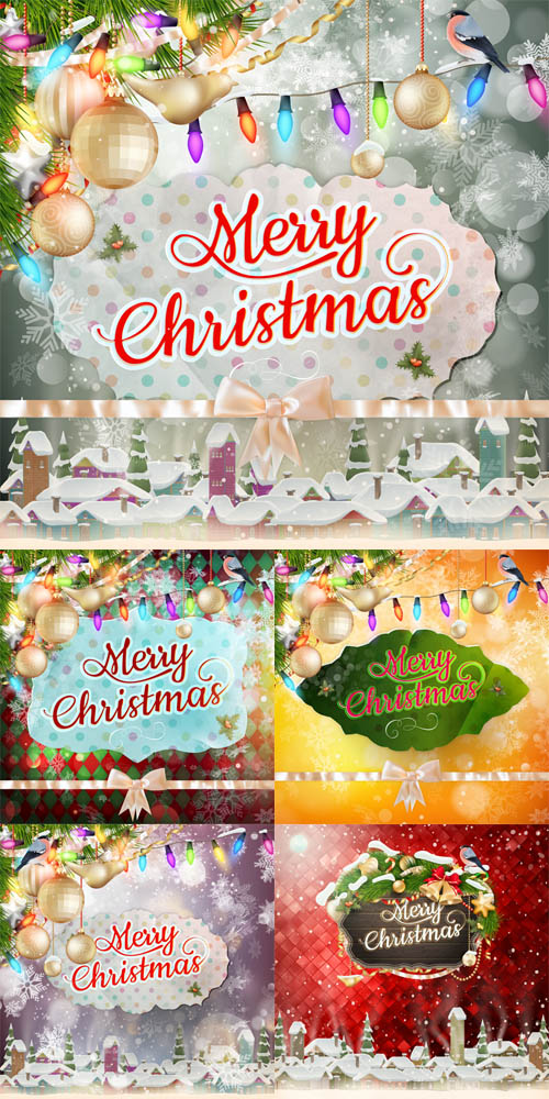 Vector Set - 5 Christmas Cards