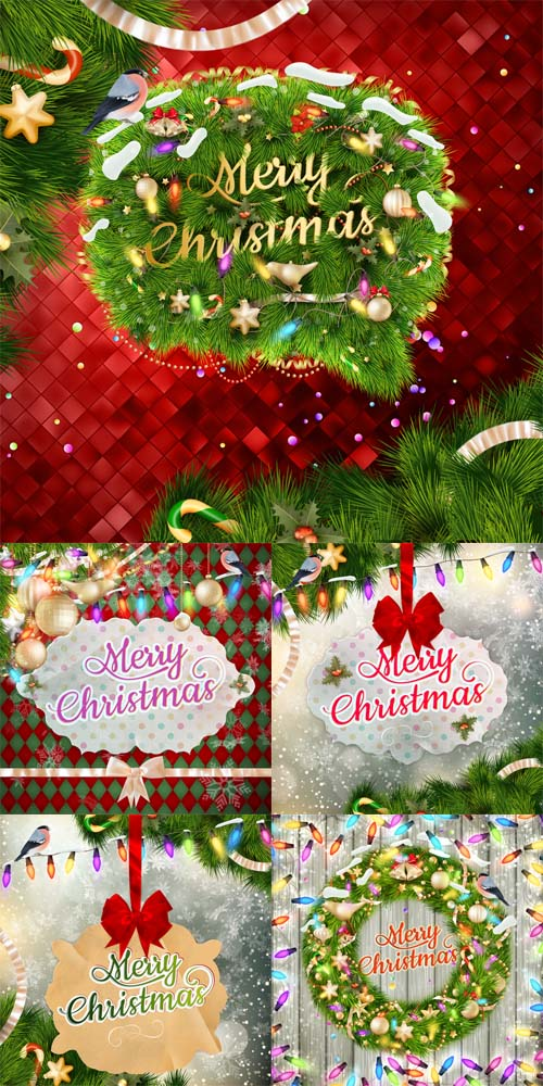 Vector Set - 5 Christmas Cards 2