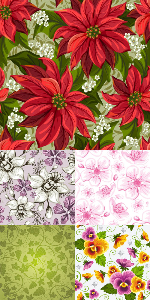 Vector Set - Floral Seamless Patterns