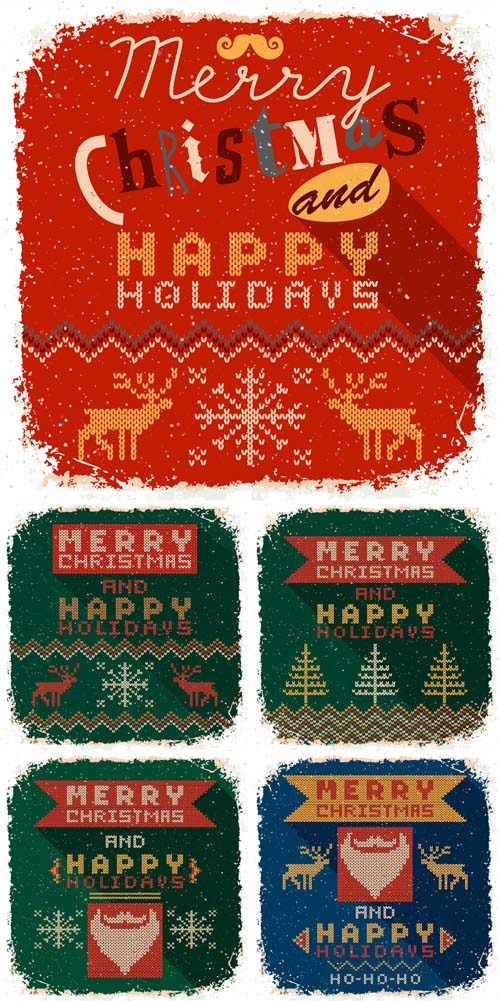 Vector Set - Knitted Christmas Cards