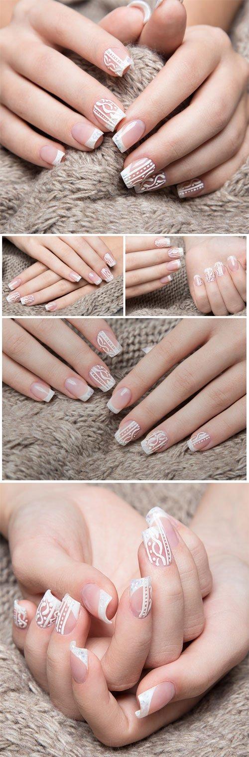 Beautiful delicate manicure, female hands - Stock photo
