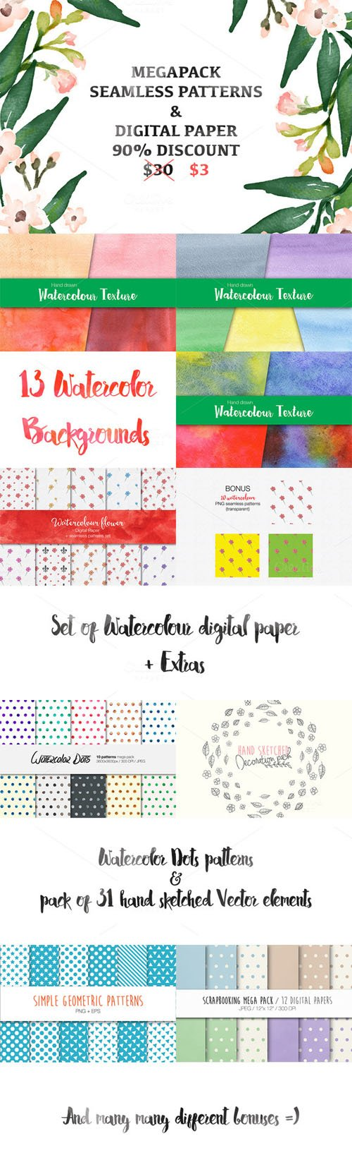 All my PATTERNS pack {90%OFF} - Creativemarket 311339