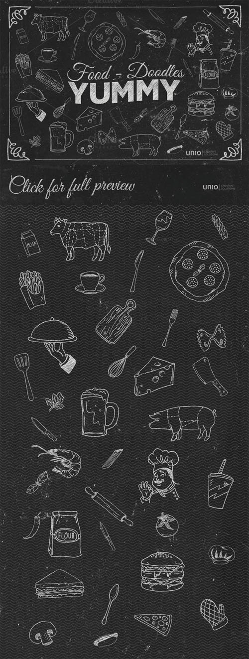 YUMMY - Food Doodles - Creativemarket 376852