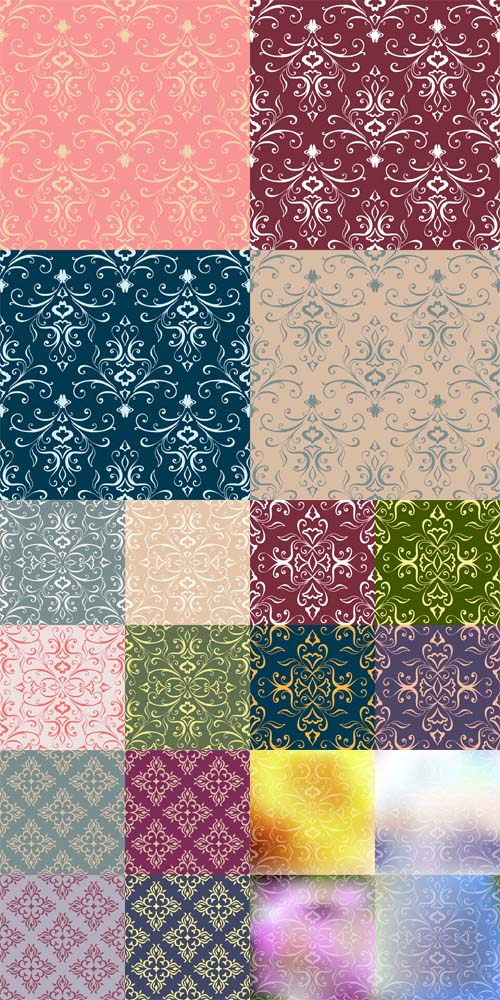 Vector Set of Colorful Floral Patterns