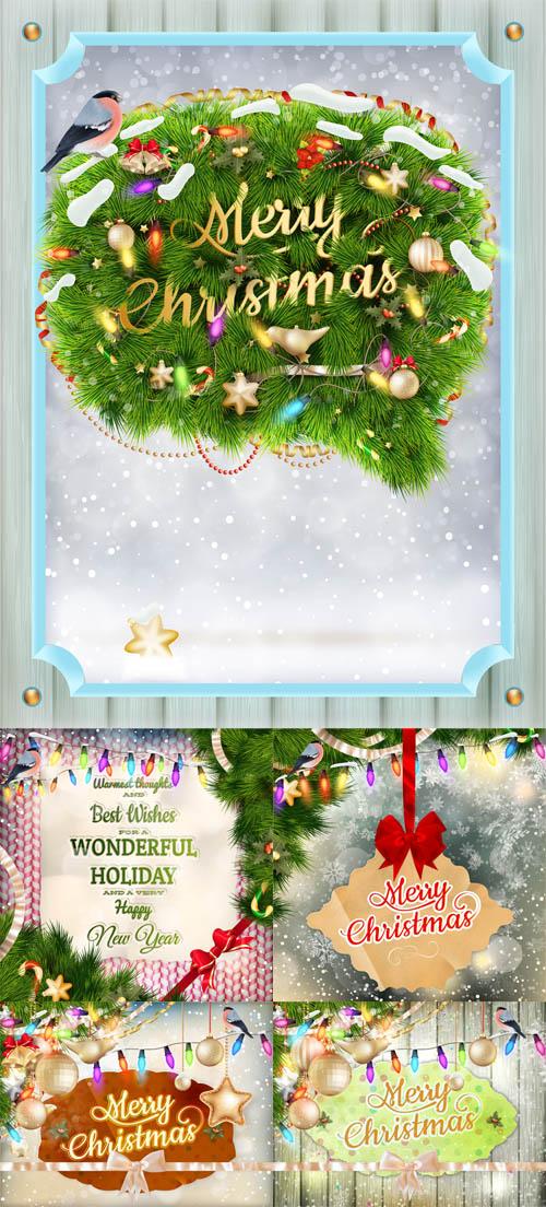 Vector Set - 5 Christmas Cards 3