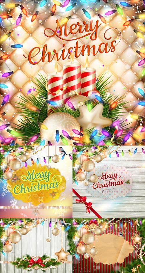 Vector Set - 5 Christmas Cards 4