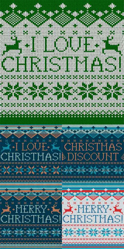 Vector Set - Christmas Seamless Knitted Patterns
