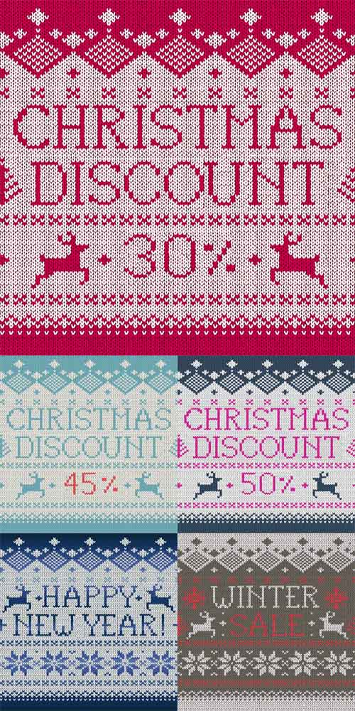 Vector Christmas Seamless Knitted Discount Patterns Set 2