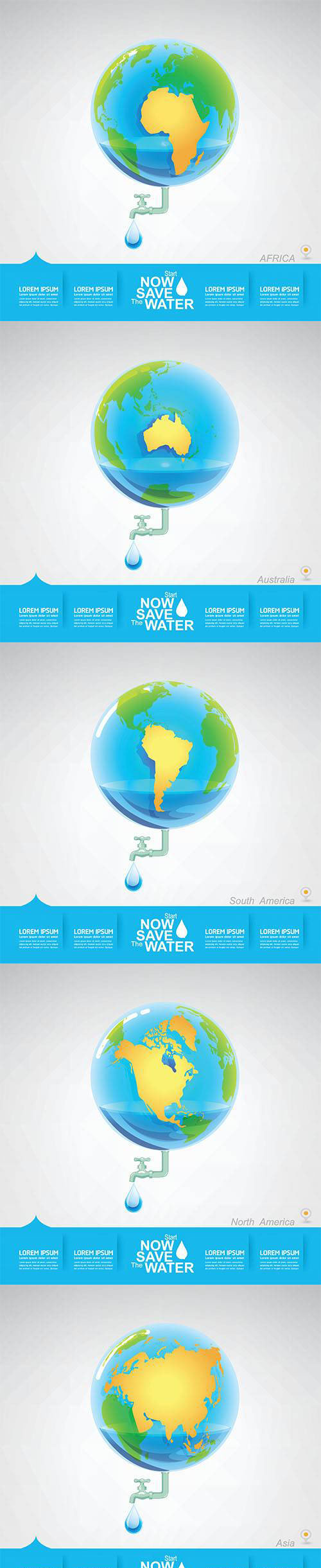 Vector Set - Save Water Earth