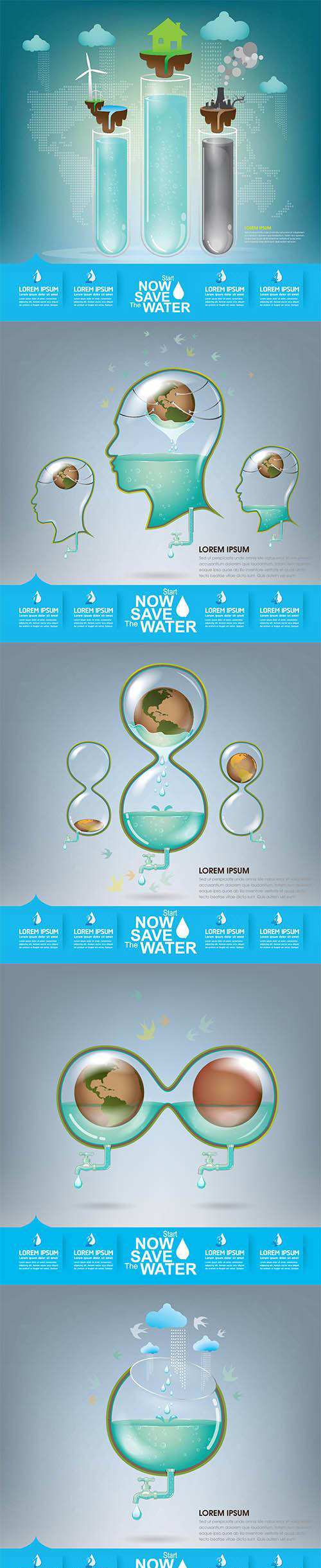 Vector Set - Save Water Illustration