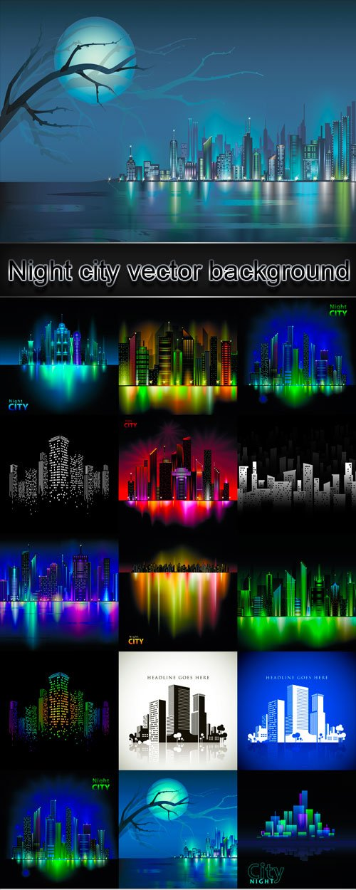 Night city vector background