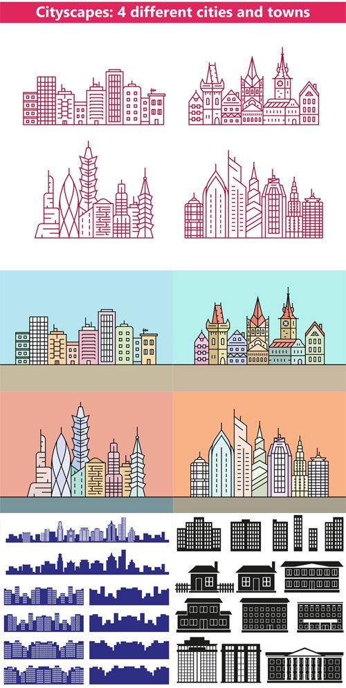 Vector Set - Silhouettes of the City
