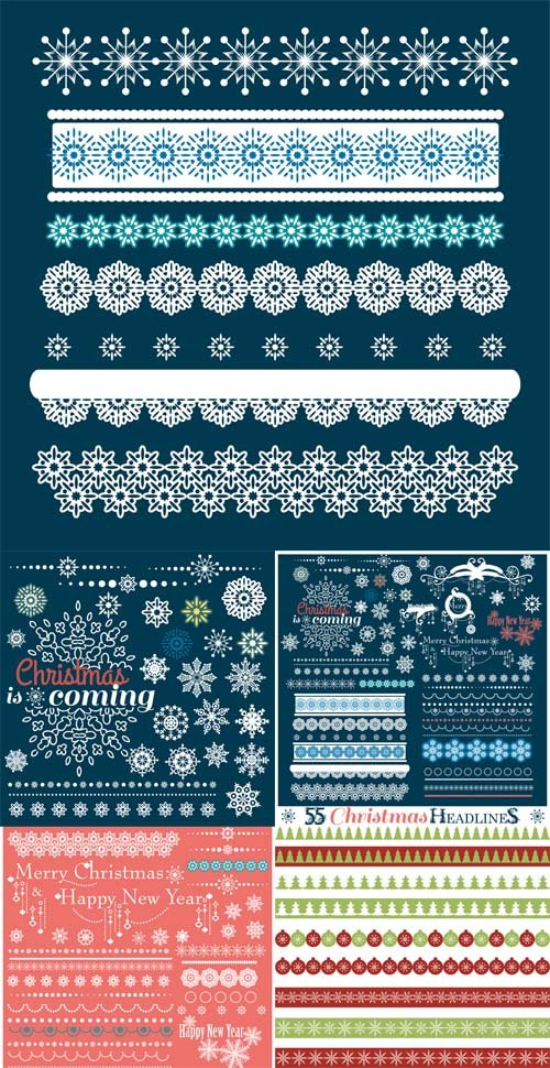 Vector Set -  Christmas Borders with Snowflakes