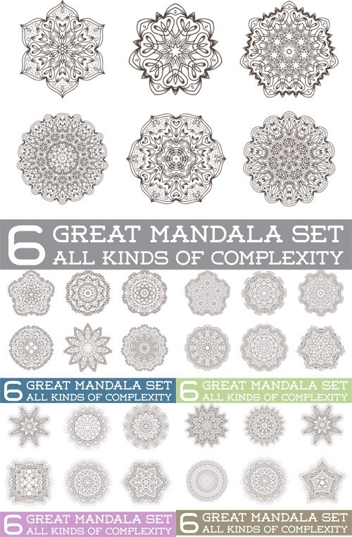 Vector Set of Ethnic Fractal Mandala