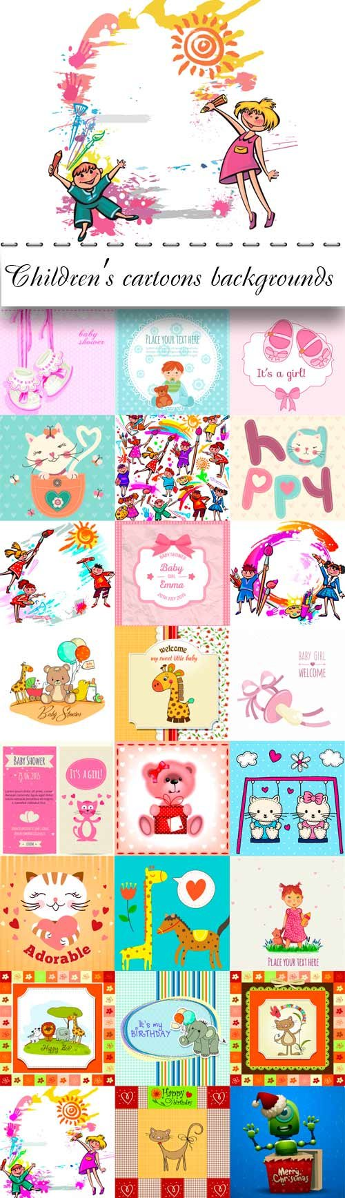 Children's cartoons vector backgrounds