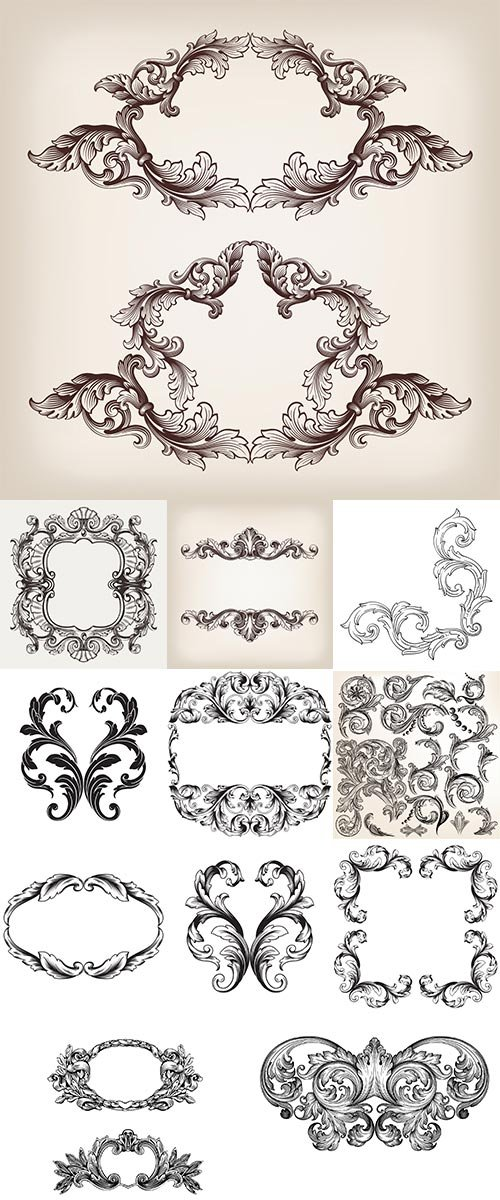 Stock Vintage baroque frame scroll ornament