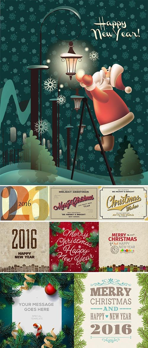 Stock vintage christmas poster 2016 vector