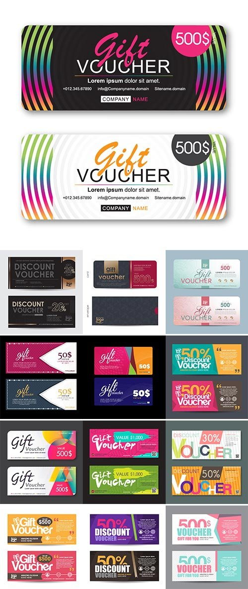 Stock Vector illustration, Gift voucher template with colorful pattern