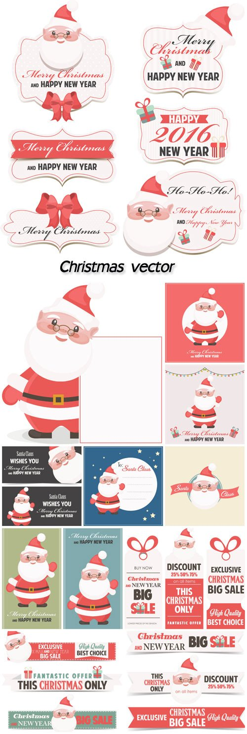 Christmas vector 2016 labels with Santa