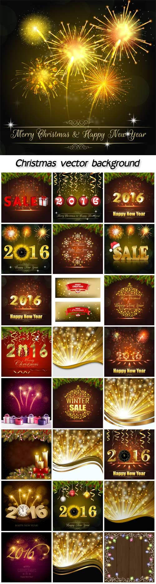 Holiday christmas background with colorful gift boxes and firework