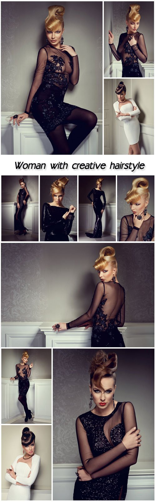 BEAUTIFUL BLONDE WOMAN WITH CREATIVE HAIRSTYLE WEARING EVENING DRESS