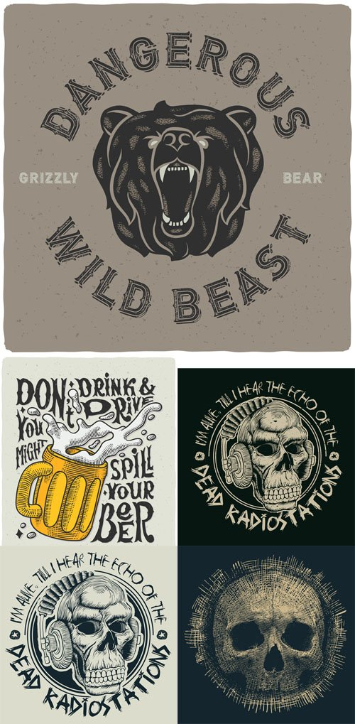 Vector Set - T-Shirt Print with Skull Bear and Beer