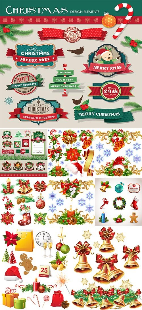 Stock Christmas design elements vector