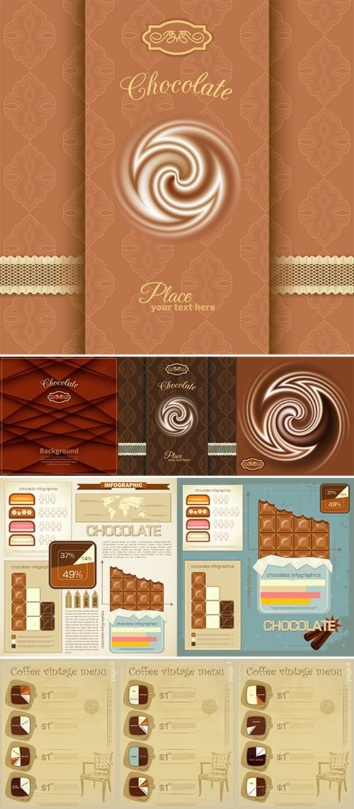 Stock Information Banner chocolate template vector