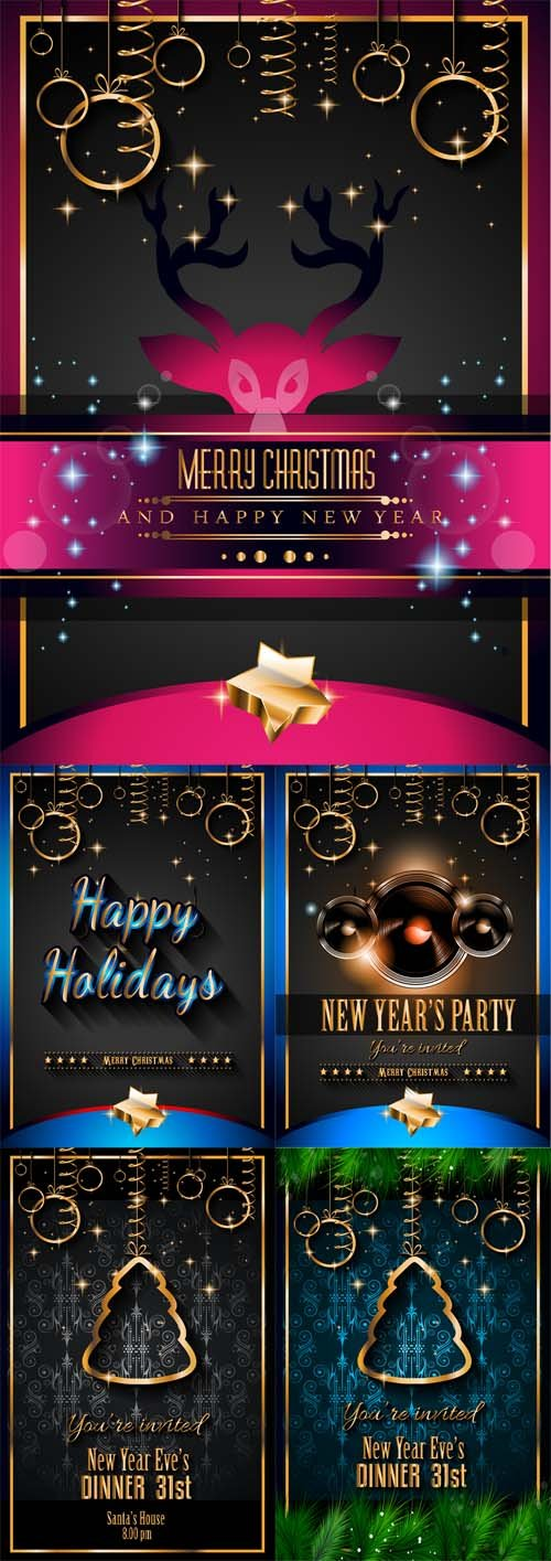 Vector 5 New Year and Christmas Backgrounds
