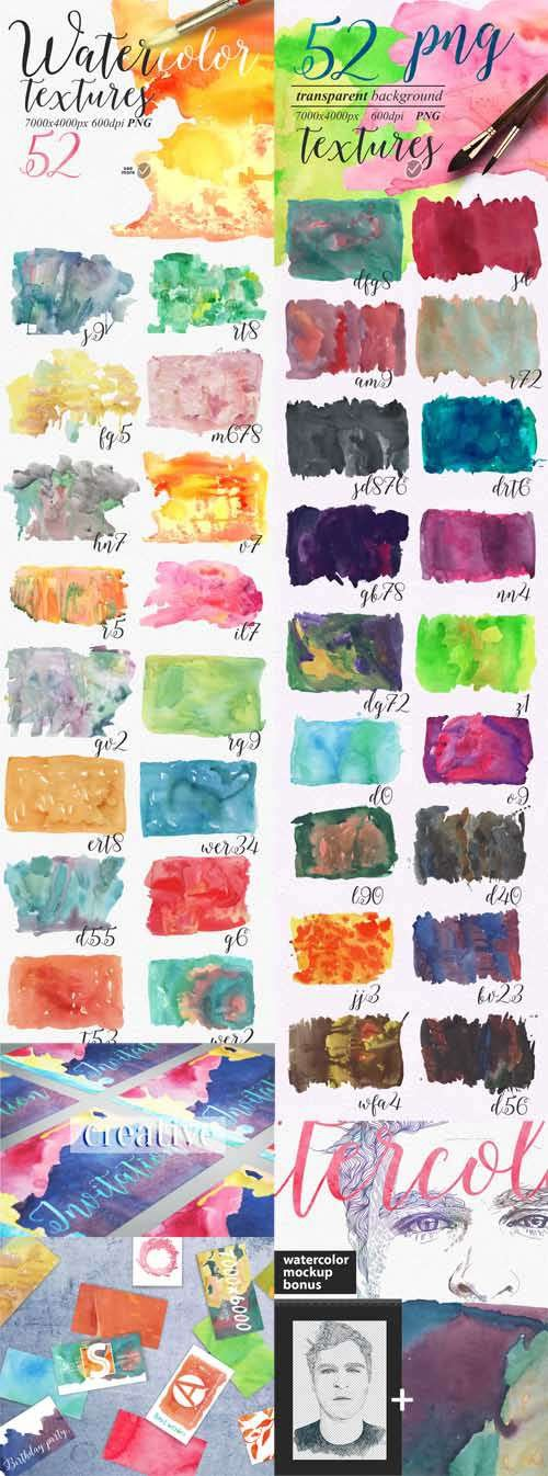CM - 52 Watercolour textures PNG