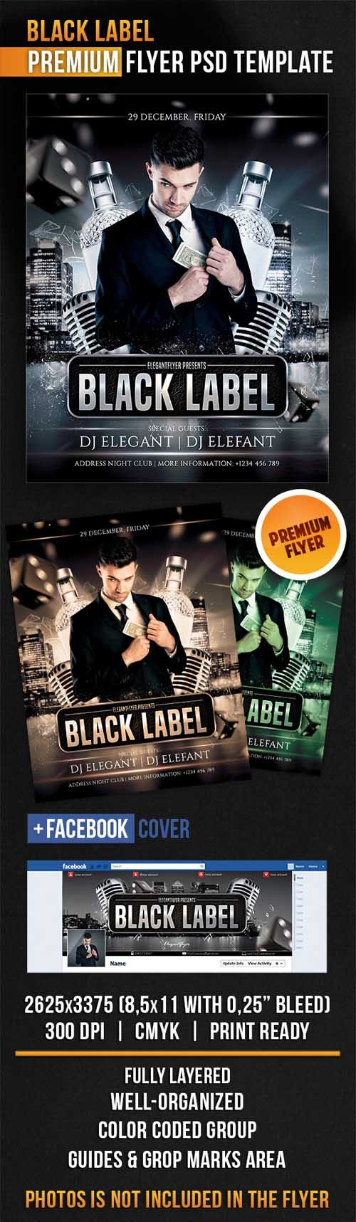 Flyer PSD Template - Black Label + Facebook Cover