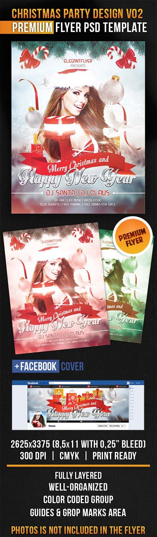 Flyer PSD Template - Christmas Party Design V02 + Facebook Cover