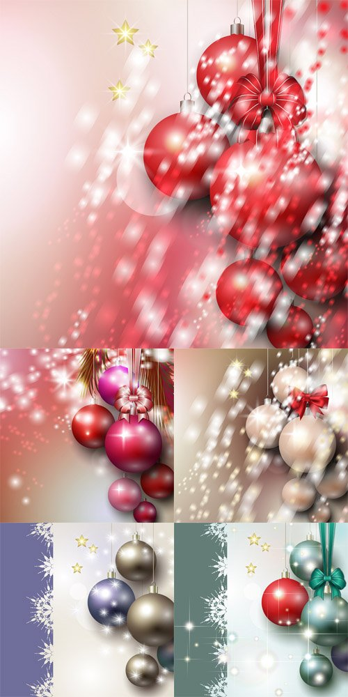 Vector Abstract background with Christmas silver baubles, stars and bow