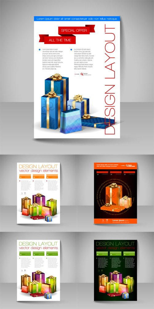 Vector Set -  Brochure Design Template with Christmas Gifts