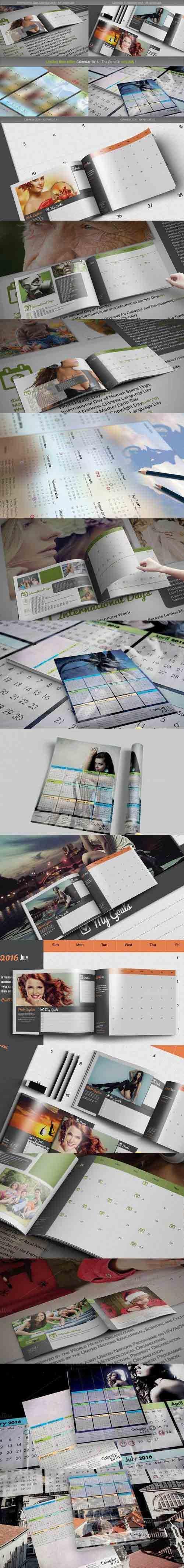CM - 4x Calendar 2016 Template Bundle