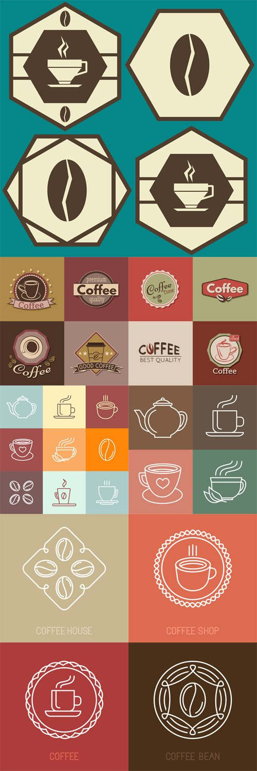 Vector Set of coffee labels, badges and logos