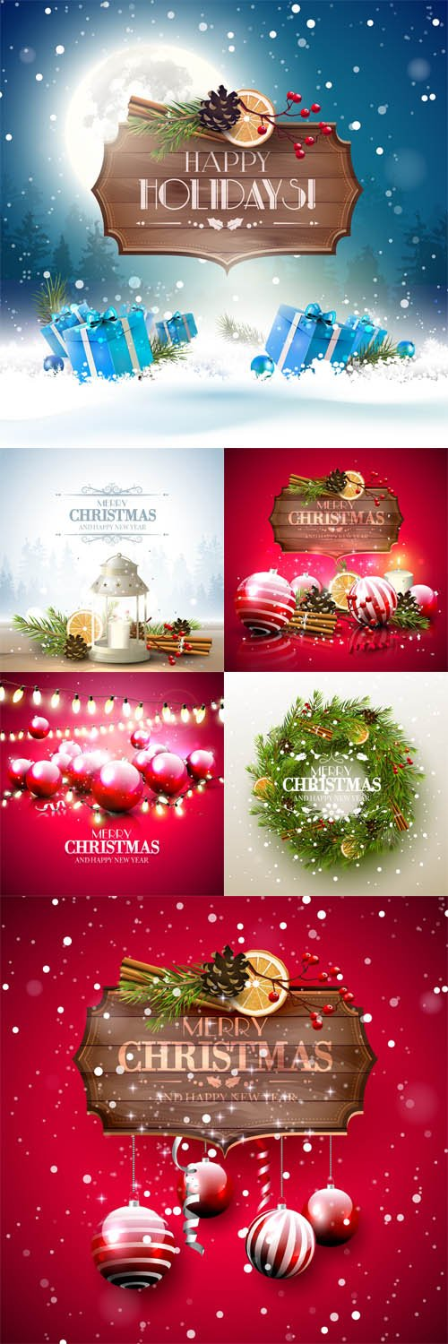 Vector Set - Christmas Greeting Card 5