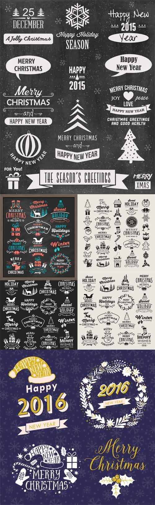 Vector Christmas design elements, logos, badges, labels, icons decoration and object set