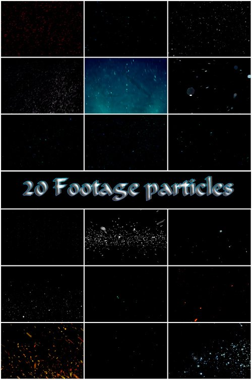 20 particles footage on a dark background