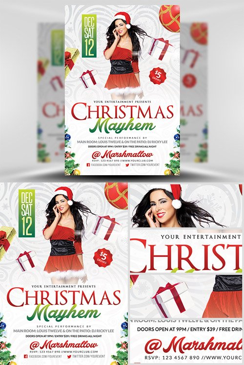 Flyer Template Psd  Christmas Mayhem  Heroturko Download