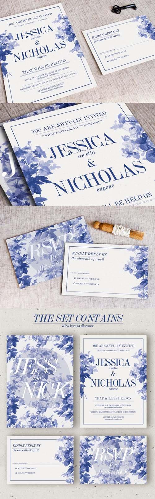 China Blue Wedding Invitation 352456