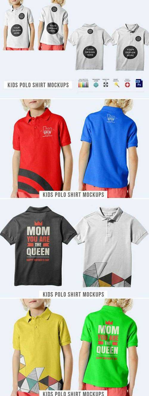 CM - Kids Polo Shirt Mockups