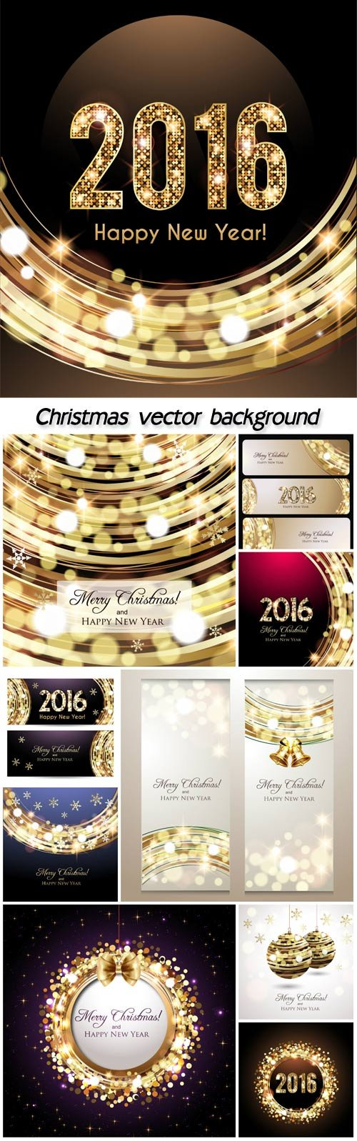 2016 Christmas vector set with sparkling elements