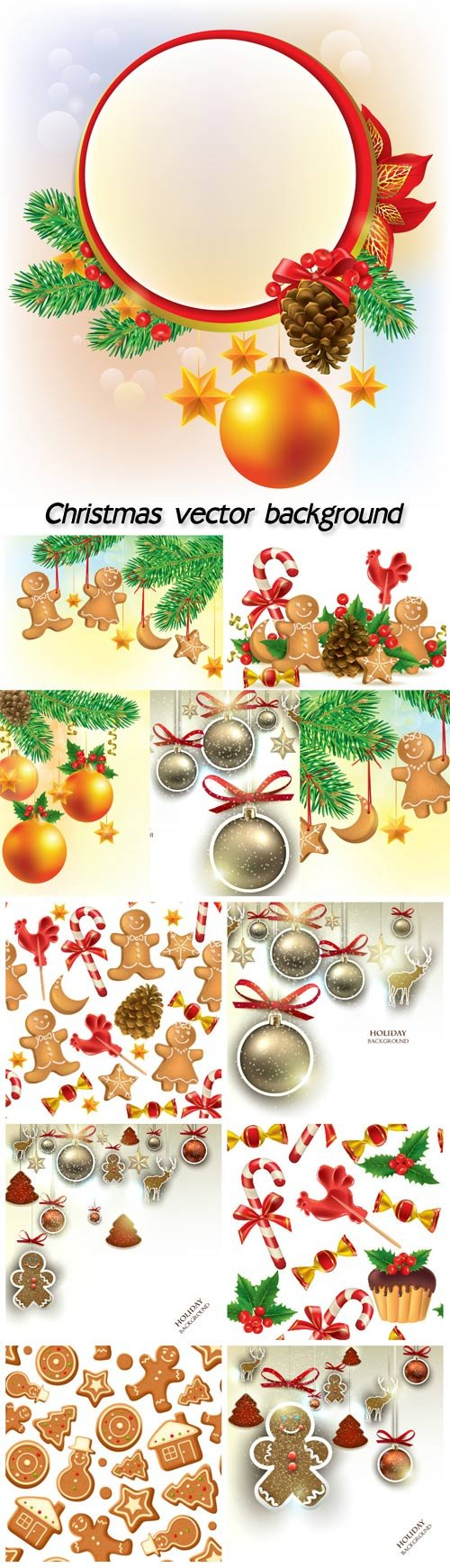 Christmas vector set of Christmas tree with decorations