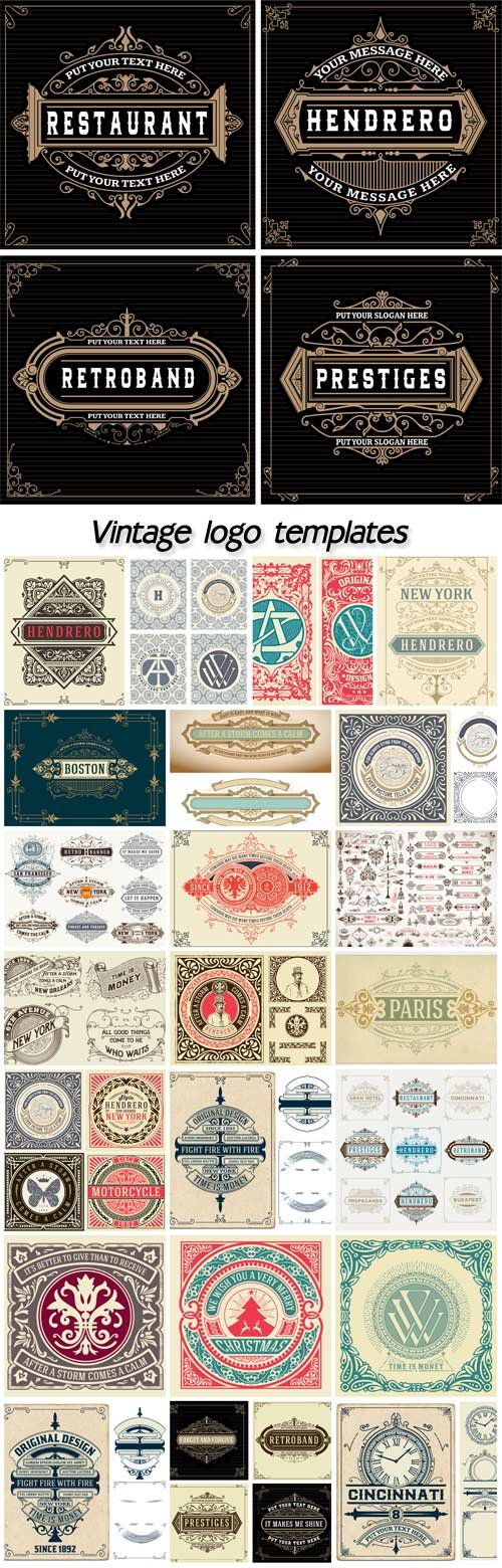 Vintage logo templates, hotel, restaurant, business or boutique