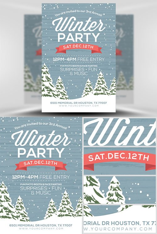 Flyer Template PSD - Rustic Winter