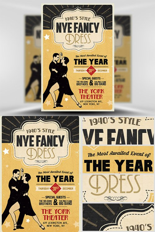 Flyer Template PSD - 1940's Style NYE